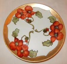 """Haviland France Red Poppy & Gold Leaf 8 5/8"""" Plate Signed Steil? numbered 191"""