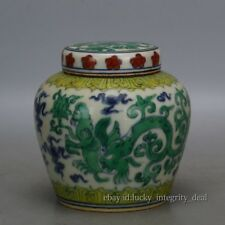 Old Chinese Tian MK Green Color Blue White Dragon Porcelain Cover Jar