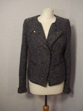 La Redoute grey marl wool mix biker style coat/jacket 12
