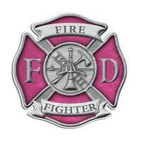 Pink Firefighter Cross Sticker - Fire Department Girl Decal