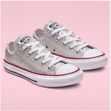 New Converse Girls CTAS OX Silver Glitter Sneakers Size 4 5