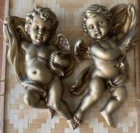 Vintage Homco 3D Wall Art Hollywood Regency Goldtone Angels 1120 Cherubs