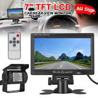 "7"" TFT LCD Monitor Car Rear View + 18 IR LED Reversing CCD Camera Kit Waterproof"