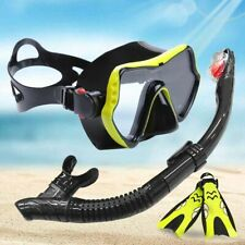 Anti-Fog Scuba Diving Goggles Mask Tube Snorkel 2Sizes Fins with Adjustable Heel