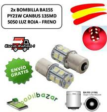 2 BOMBILLAS BOMBILLA LED COCHE BA15S 13SMD 1156 P21W LUZ ROJA FRENOS RED BRAKE