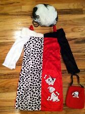DISNEY STORE 101 Dalmatians CRUELLA Fancy Dress 2PC COSTUME Kids 7/8-NO PURSE