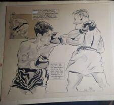 1955 ORIGINAL CARTOON ART-BOXING-BOBBY MURPHY VS CHICO VEJAR-RARE-MAYOR HYNES