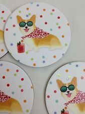 New set 4 Corgi Decorative Coasters, Corg Gifts, Pembroke Welsh Corgi Coasters