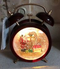 "Santa Claus snow globe glitter Swirling Water Light 7 1/2"" Christmas Alarm Clock"