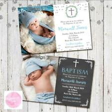 Personalised BAPTISM CHRISTENING BOYS INVITE INVITATION PARTY PHOTO BLUE GOLD