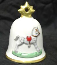 1991 Goebel Hummel Annual Christmas Bell Ornament Rocking Horse. White Decor