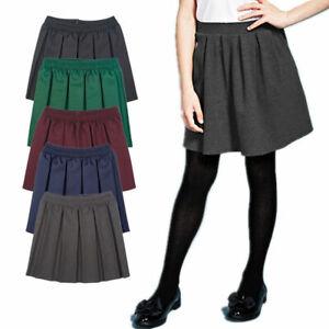 Girls Kids Childrens All Round Pleated Elasticated Box Skirt School Uniform 2-18