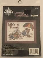 New Life's a Beach #33011 Counted Cross Stitch Kit 5x7 Bucilla Vintage Sealed