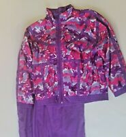 Vintage 80s 90s Floral Tracksuit Womens Sz L Purple Hot Pink Windbreaker/ Pants