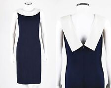 ST JOHN Evening Navy Blue White Santana Knit Paillettes Boat Neck Shift Dress 6