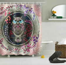 Abstract Owl Bathroom Waterproof Fabric Shower Curtain Set w/12 Hooks 60*72inch