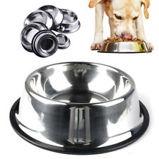 Anti-Slip Dog Bowl Stainless Steel Large Dog Puppy Kitten Food Water Dish Feeder