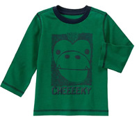 Gymboree Baby Boy's Jungle Green Cheeky Monkey Long Sleeved Tee, Size 6/12 Month