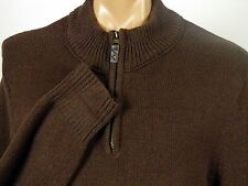 Eddie Bauer 1/4 Zip Sweater 100% Cotton Dark Brown Knit Mens size Large