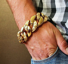 Enorme 24k Gold Plated Hombre Pulsera De Acero Inoxidable de peso pesado Bling masiva 98