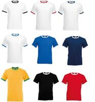 3-Pack Or 5-Pack Fruit of the Loom Men's 100% Cotton Contrast Ringer T-Shirt New