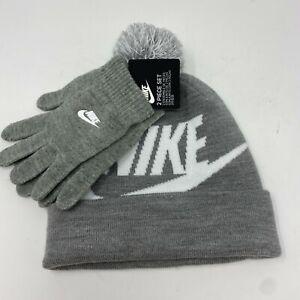 New- Nike Kids Boy's Swoosh Pom Beanie Gloves Set Gray White Youth