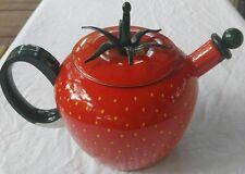 Strawberry Tea Pot COPCO Metal Enamel Red Painted Green Stem Spout has some dam
