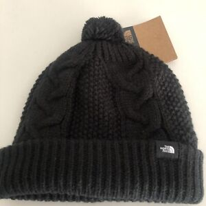 NWT The North Face 2-3T Black Cable Knit Beanie