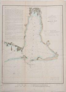 "1851 US coast Survey map Mobile Bay, Alabama - 19.3"" x 14.3"" - Nautical - color"