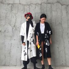 Women Men Japanese Kimono Yukata Bathrobe Pajamas Coat Long Jacket Black White