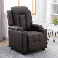 Recliner Chair Sofa Couches Armchair Realxer Lounge Padded Seat PU Leather Brown