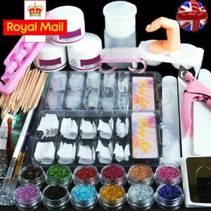 Manicure Kit False Nail Tips Nails Acrylic Powder Liquid Nail Art Starter Set UK