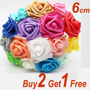 100X Large 6CM Artificial Flowers Foam With Stem Wedding Party Bouquet