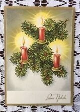 Vintage Buon Natale Italian Italy Christmas Card Postcard Unused Red Candle Pine