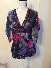 COTTON EXPRESS brand Black Pink Purple SILK Empire waist TOP Kimono look size L
