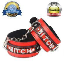 Bitch Adult Bondage Leather Handcuffs Restraints Wrist Hand Cuffs Ankle Cuff Sex