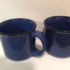 Marlboro Unlimited Blue Speckled Mug Cup Ceramic 14 oz Black Rim X 2