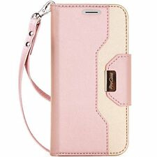 iPhone XS-X Women Wallet Case Leather Stand Folio Magnetic Closure Elegant Pink
