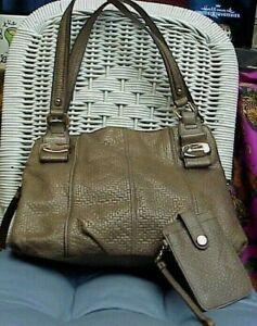 B.MAKOWSKY designer mocha brown woven pattern leather shoulder bag/satchel/tote