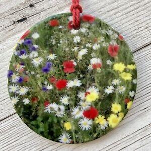 Scottish Wildflowers Decoration Ceramic Hanging Ornament Gift Flower Floral