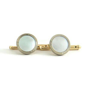 Mother of Pearl Two-Tone Tuxedo Studs Cufflinks 10K White Yellow Gold, 2.30 Gram