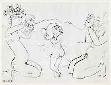 """Brilliant Pablo PICASSO 1954 NUDE Human Comedie Print """"Masked Lovers"""" Framed COA"""