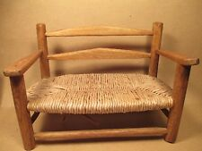 "Vintage Mini Rush Chair Bench Doll Plush Beanie CHAIR Hand Crafted 6-3/8""T x 9""W"