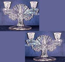 Pair Paden City Glass Maya Clear Double Socket Candlesticks Candle Holder 1930s