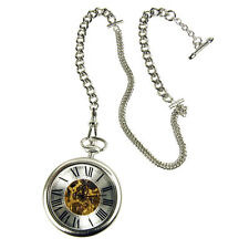 New TOKYObay Tokyo Bay SILVER HOLMES Pocket Watch SHOWS BEAUTY OF WATCH MOVEMENT