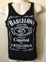 Barcelona By Native Black BARCELONA Graphic Cut Off Sleeveless Women's Tank S
