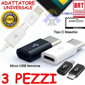 STOCK di 3 Adattatori da MICRO USB Femmina a Maschio TIPO C Universale TELEFONO