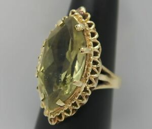 UNIQUE VINTAGE STYLE ~ 14K Yellow Gold LARGE 6+ Ct. LEMON CITRINE Solitaire Ring