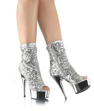 """6"""" Silver Sequin Platform Ankle Boots Stripper Pole Dancer Heels Pleaser Delight"""