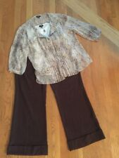 Women's Petite Outfit: Talbots 14WP Top & Shell; NWT! 14P Pants. NWOT Necklace.